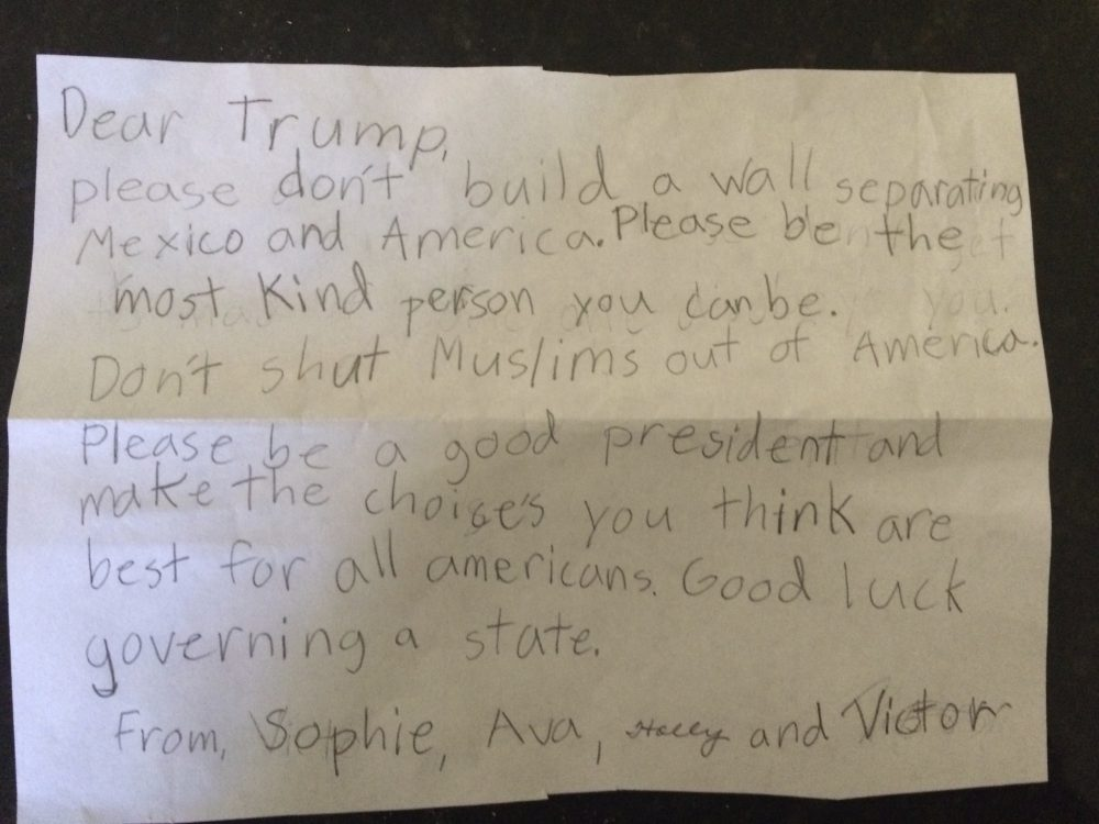 This photo provided by her family shows a letter 7-year-old Sophie Hoerst wrote to President-elect Donald Trump shortly after the election. Hoerst lives in Mt. Holly, N.C. (Hoerst family/AP)