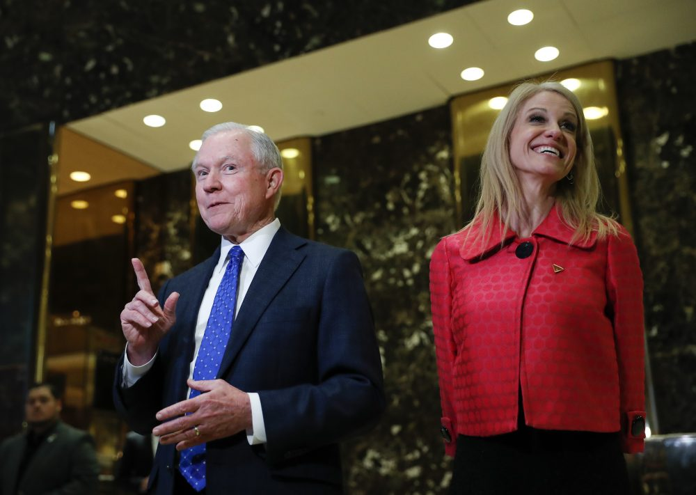Sen. Jeff Sessions and Trump campaign manager Kellyanne Conway at Trump Tower in New York. President-elect Donald Trump has picked Sessions for the job of attorney general. (Carolyn Kaster/AP)