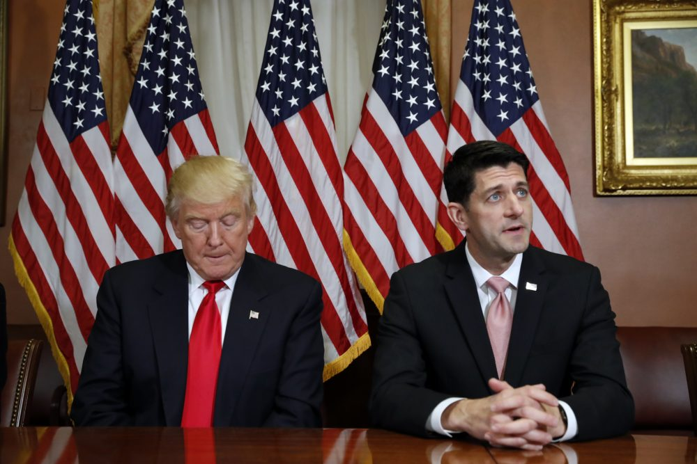 President-elect Donald Trump is seen with House Speaker Paul Ryan of Wis. on Capitol Hill in Washington, Thursday, Nov. 10, 2016. (Alex Brandon/AP)