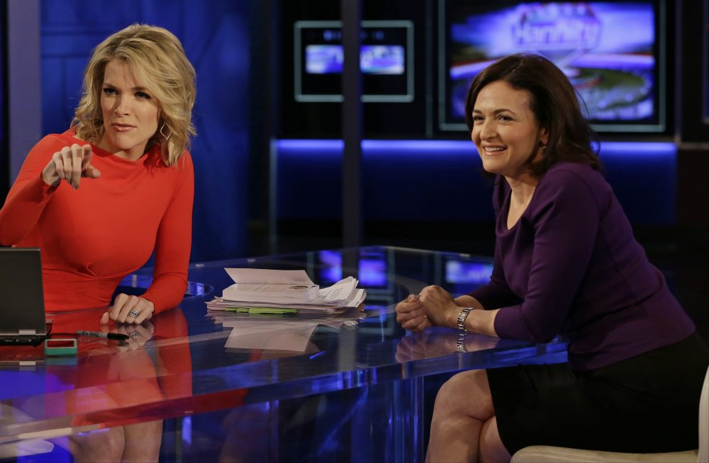 Sheryl Sandberg, chief operating officer of Facebook, right, smiles after a news interview with Megyn Kelly, left, on the show, The Kelly File, on the FOX News Channel, Wednesday, April 9, 2014, in New York. (AP Photo/Frank Franklin II)