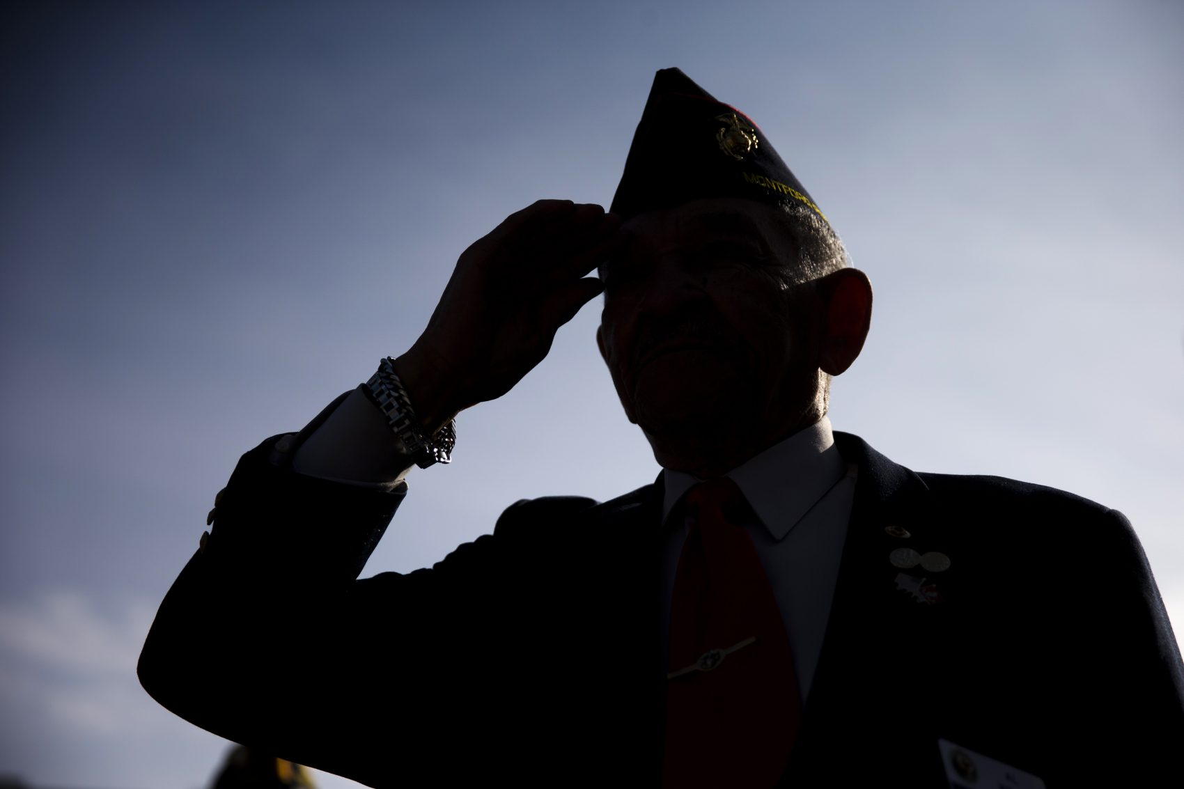 Al Willis, a Montford Point Marine, salutes during a ceremony on Veterans Day, Tuesday, Nov. 11, 2014, at the The All Wars Memorial to Colored Soldiers and Sailors in Philadelphia. (Matt Rourke/AP)
