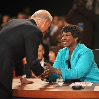 A tribute to the trailblazing journalist and host of the PBS Newshour who died Monday at the age of 61.  Pictured: PBS journalist and debate moderator Gwen Ifill and then-Democratic vice presidential nominee, Sen. Joe Biden, D-Del., left, shake hands at the end of his vice presidential debate with Republican rival, Alaska Gov. Sarah Palin in St. Louis, Mo., on Oct. 2, 2008. (Don Emmert/AP)