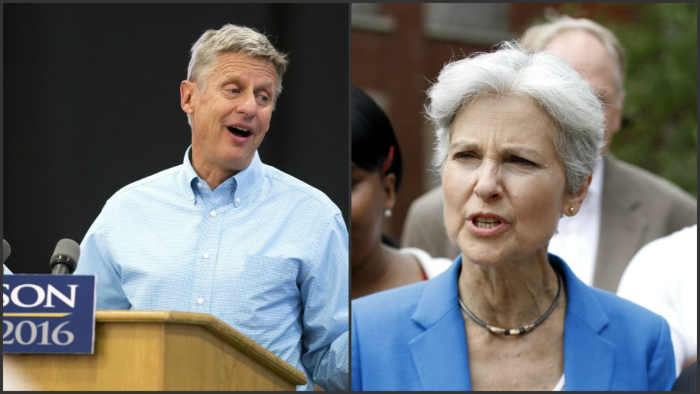 They had every right to champion their beliefs, writes Andrew Bauld, and their supporters had every right to vote for them. But now where are they today?  Pictured: Libertarian presidential candidate Gary Johnson, left. Green Party presidential candidate Jill Stein, right. (Scott Morgan/AP, Tae-Gyun Kim/AP)