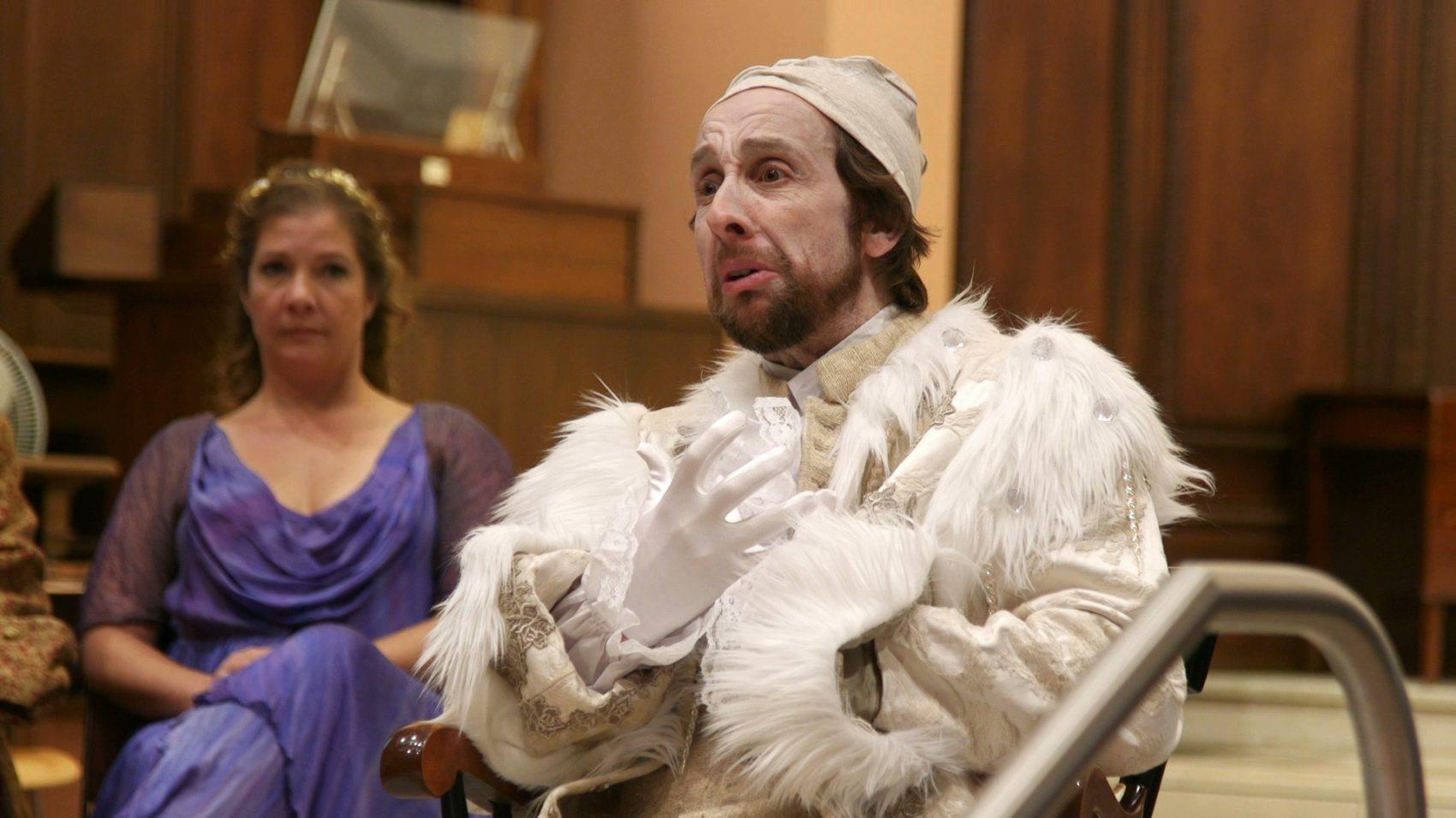 "Krista River and David Kravitz in rehearsal for ""King Arthur."" (Courtesy Poets' Theatre)"
