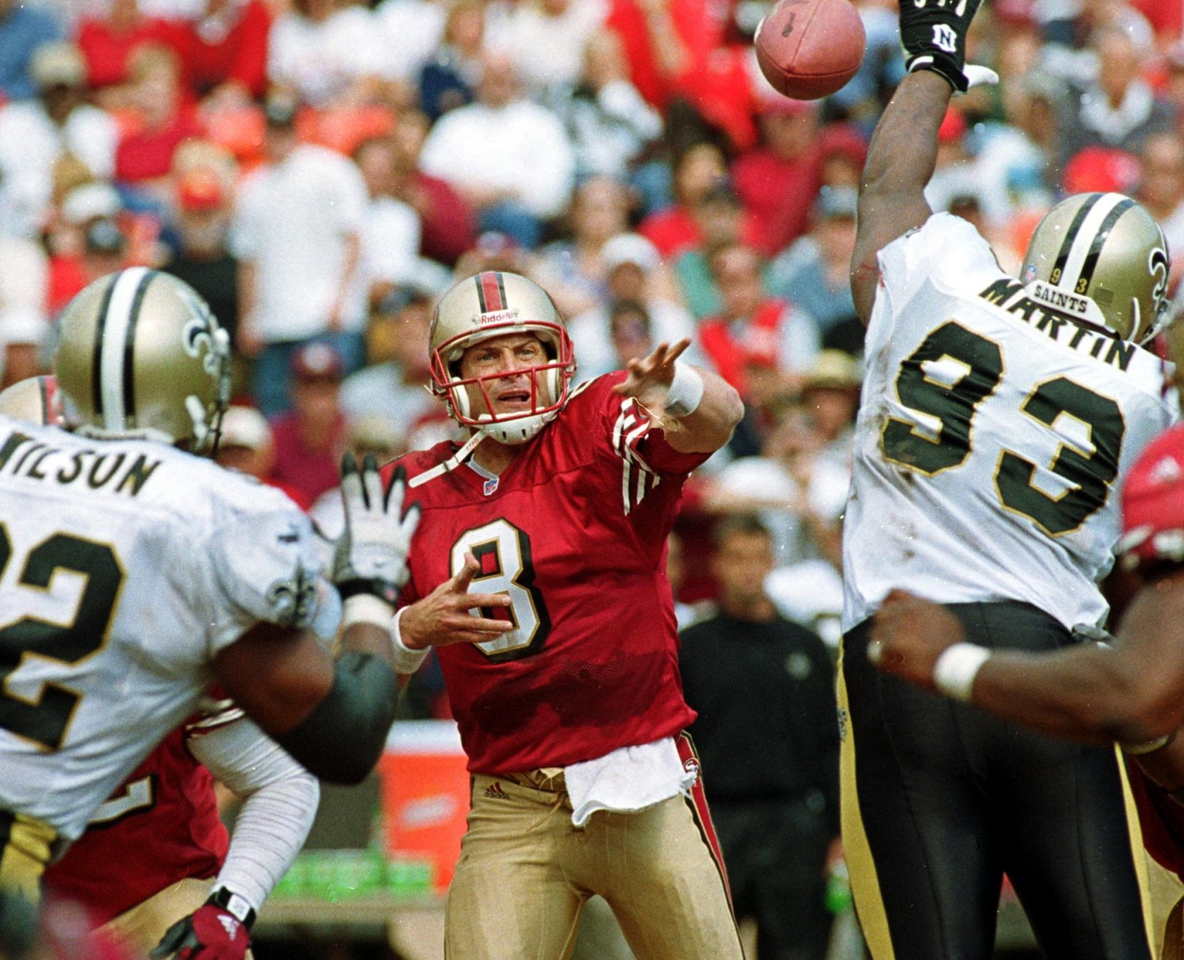 """Everything about what was happening in San Francisco felt comfortable,"" Steve Young says of his first impressions fo the San Francisco 49ers. The same could not be said of Young's time in the USFL. (Monica M. Davey/AFP/Getty Images)"