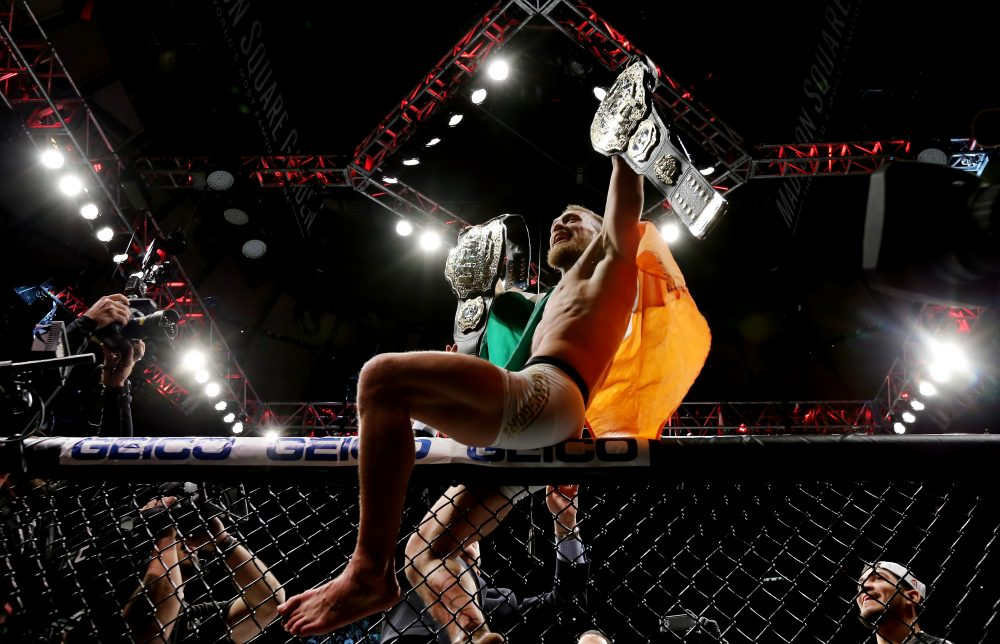 Conor Mcgregor is the first fighter in UFC history to hold two division titles simultaneously. (Michael Reaves/Getty Images )
