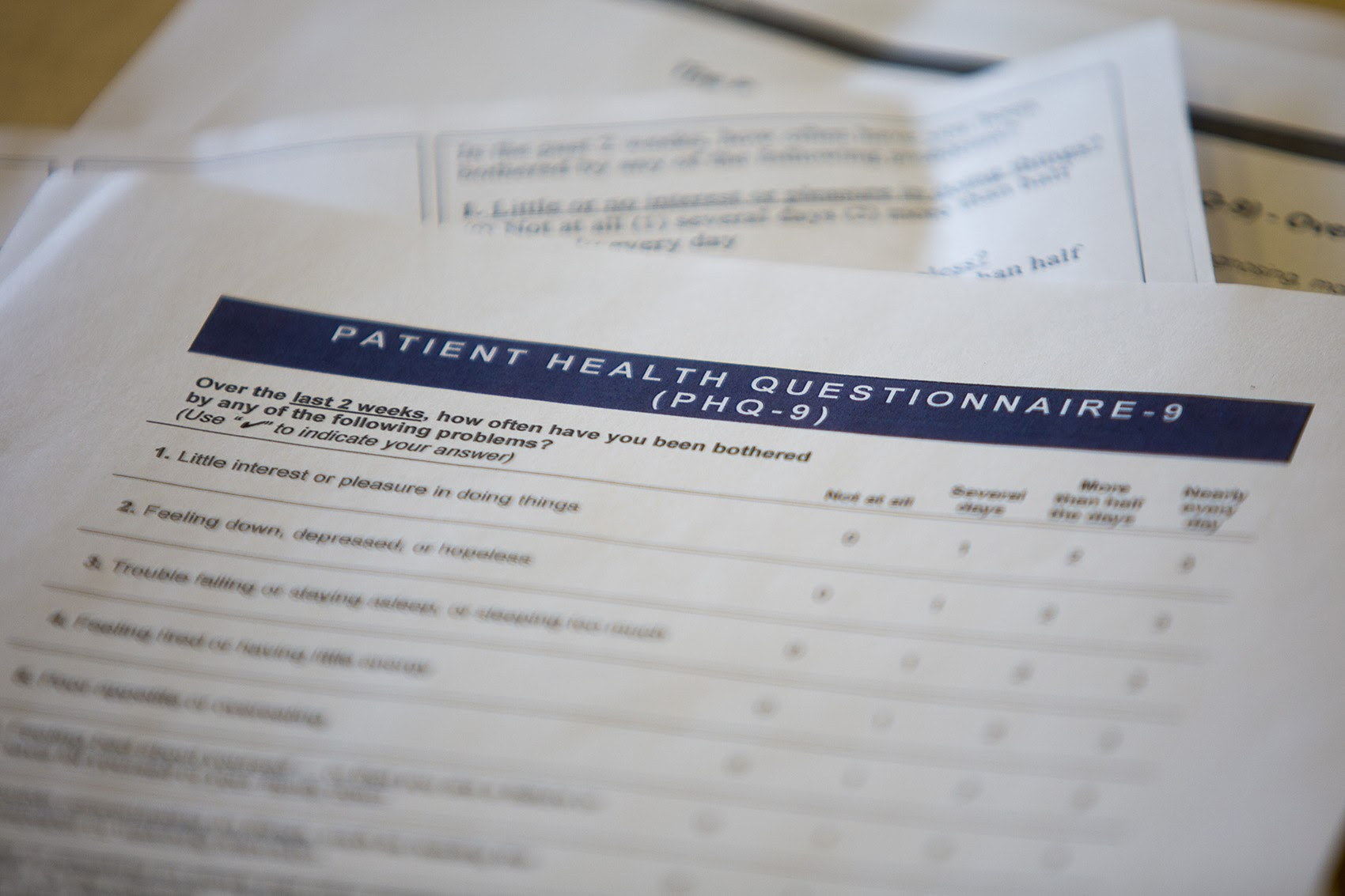"""One Massachusetts doctor says she can't rely on her usual questionnaire to check for depression, because so many patients feel """"down, depressed or hopeless"""" following the election. Pictured here, a patient health questionnaire about depression. (Jesse Costa/WBUR)"""