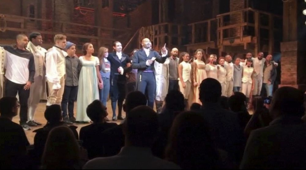 "Playhouses have never been exempt from the political currents that swirl outside their walls, writes Jeffrey S. Ravel.  Pictured: In this image made from a video provided by Hamilton LLC, actor Brandon Victor Dixon who plays Aaron Burr, the nation's third vice president, in ""Hamilton,"" speaks from the stage after the curtain call in New York, Friday, Nov. 18, 2016. Vice President-elect Mike Pence is the latest celebrity to attend the Broadway hit ""Hamilton,"" but the first to get a sharp message from a cast member from the stage. (Hamilton LLC via AP)"