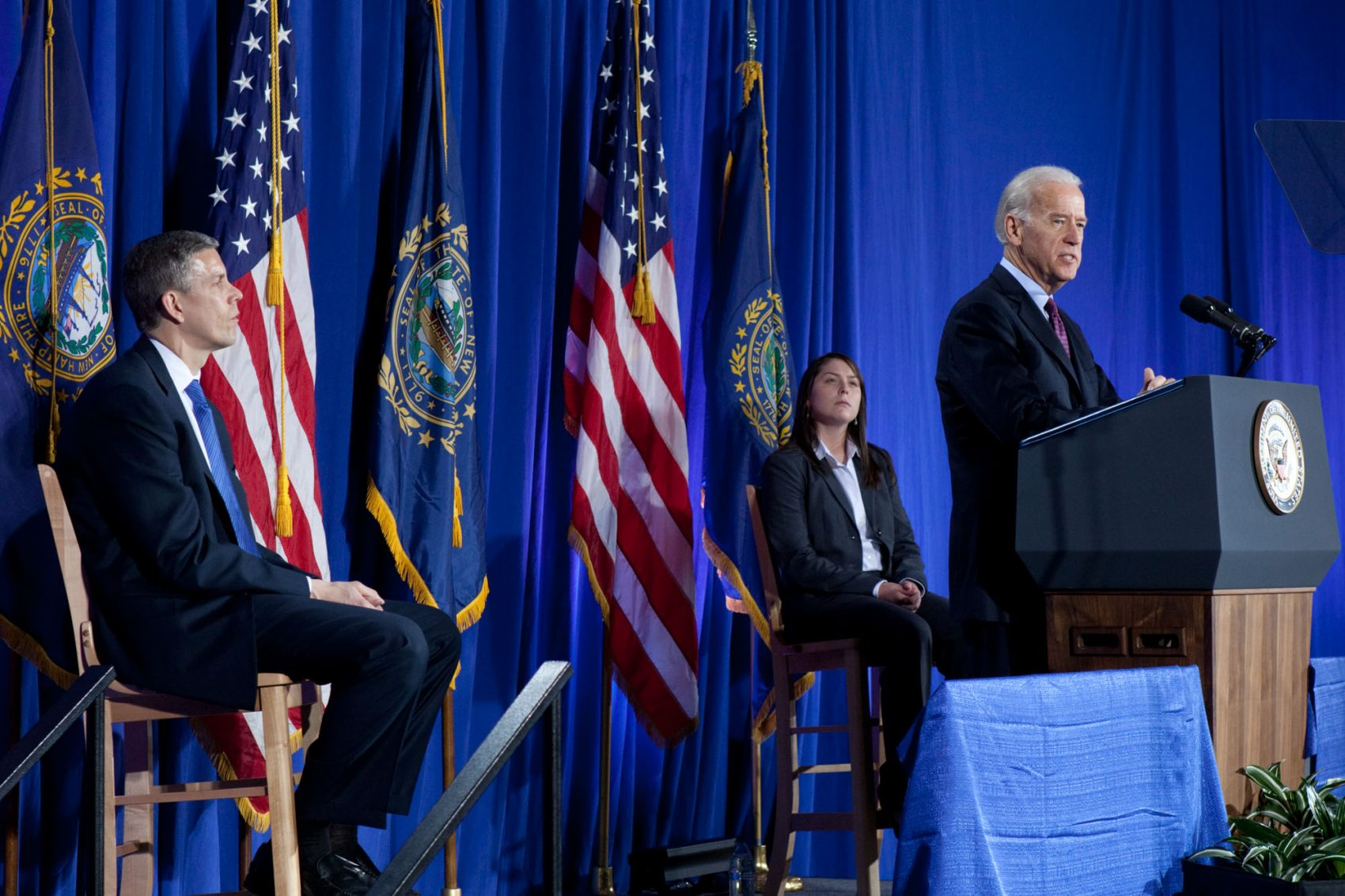 Vice President Joe Biden and Secretary of Education Arne Duncan deliver remarks at the University of New Hampshire, in Durham, NH, April 4, 2011.  (Official White House Photo by David Lienemann).