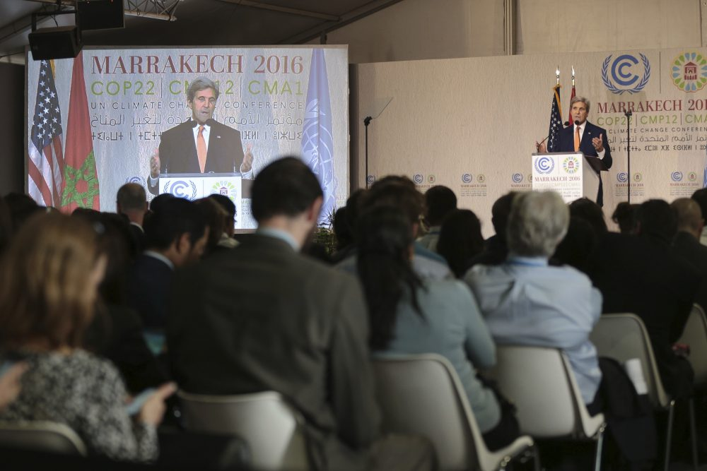 US Secretary of State John Kerry delivers an address at the COP22 climate change conference in Marrakech on Wednesday, Nov 16, 2016. (Mosa'ab Elshamy/AP)