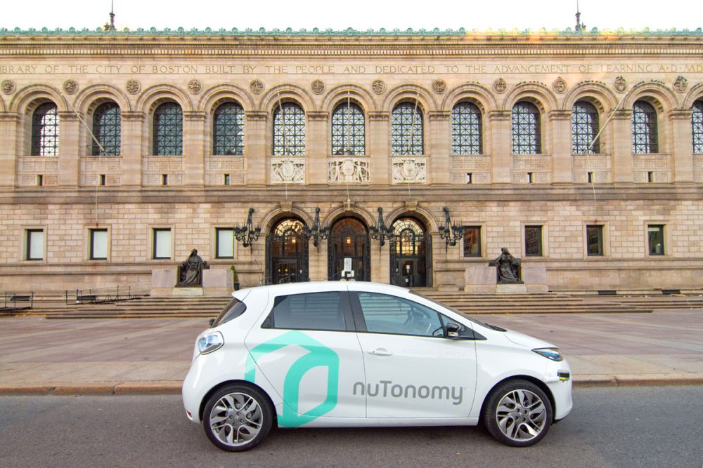 One of nuTonomy's autonomous vehicles in front of the Boston Public Library in Copley Square. (Courtesy city of Boston)