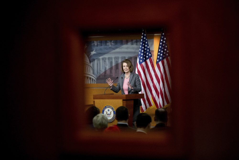House Minority Leader Nancy Pelosi of Calif. speaks at her weekly news conference on Capitol Hill in Washington. (Andrew Harnik/AP)