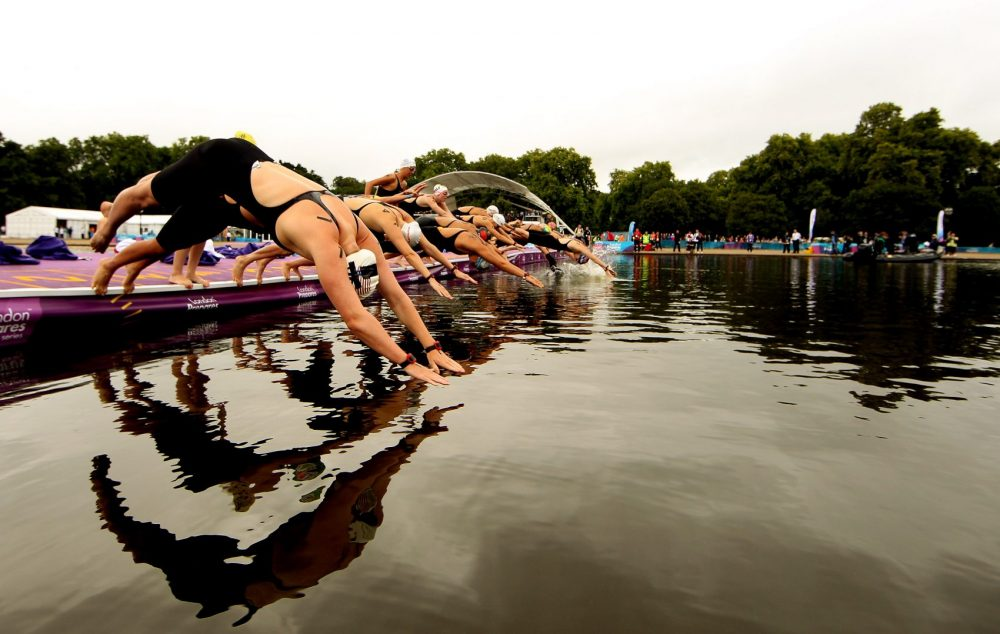 Of all the spectacles at the 2012 London Olympics, Bill Littlefield says his favorite was the Women's Marathon Swim. (Scott Heavey/Getty Images)