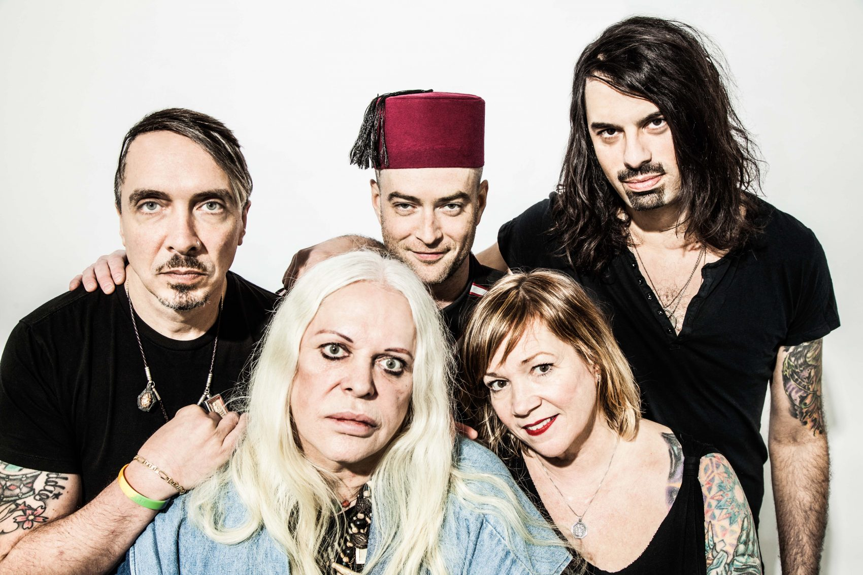 Current members of Psychic TV post for a portrait. (Courtesy Drew Weidemann)