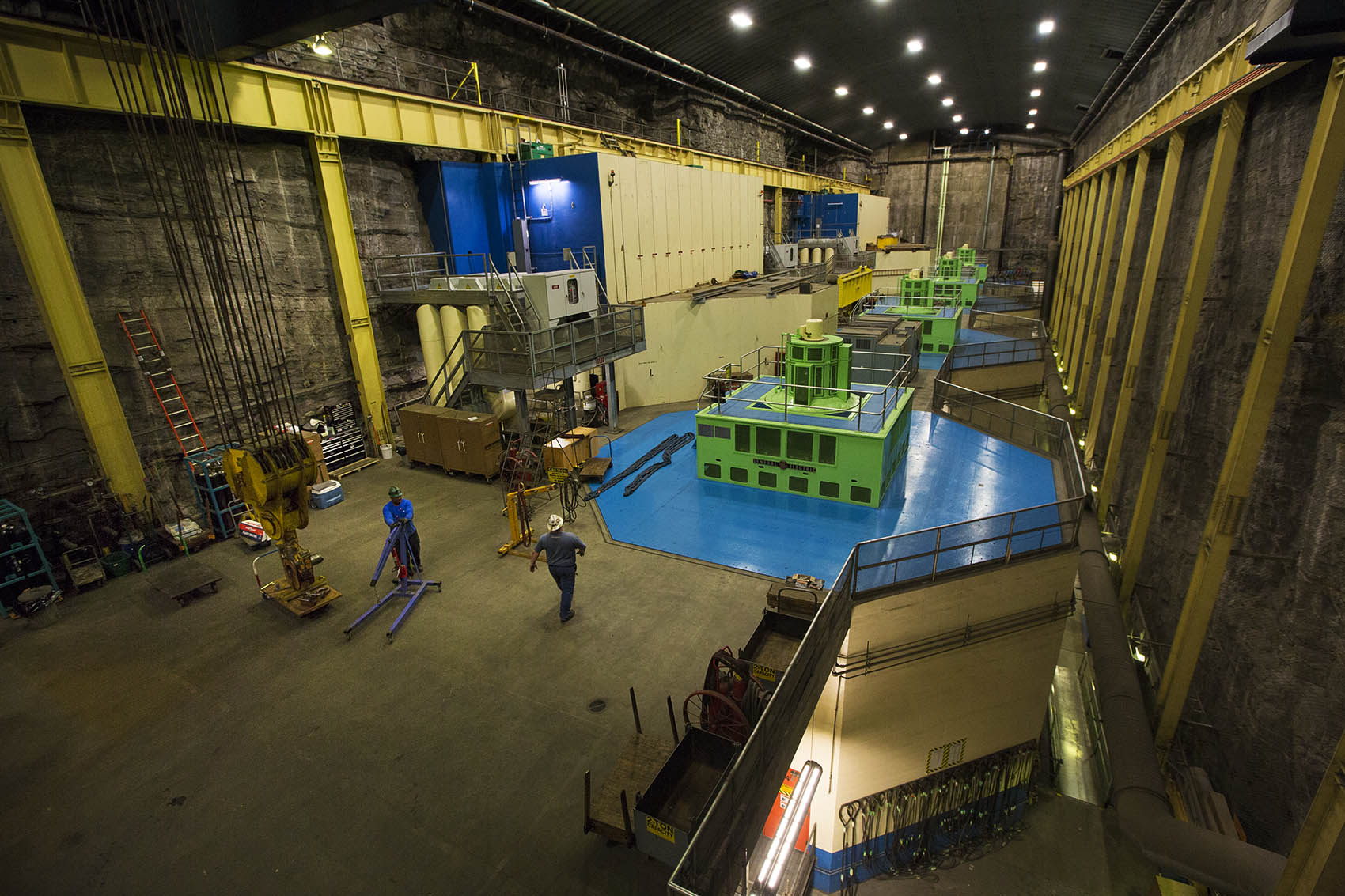 Inside the Northfield Mountain pumped storage hydroelectric station (Jesse Costa/WBUR)