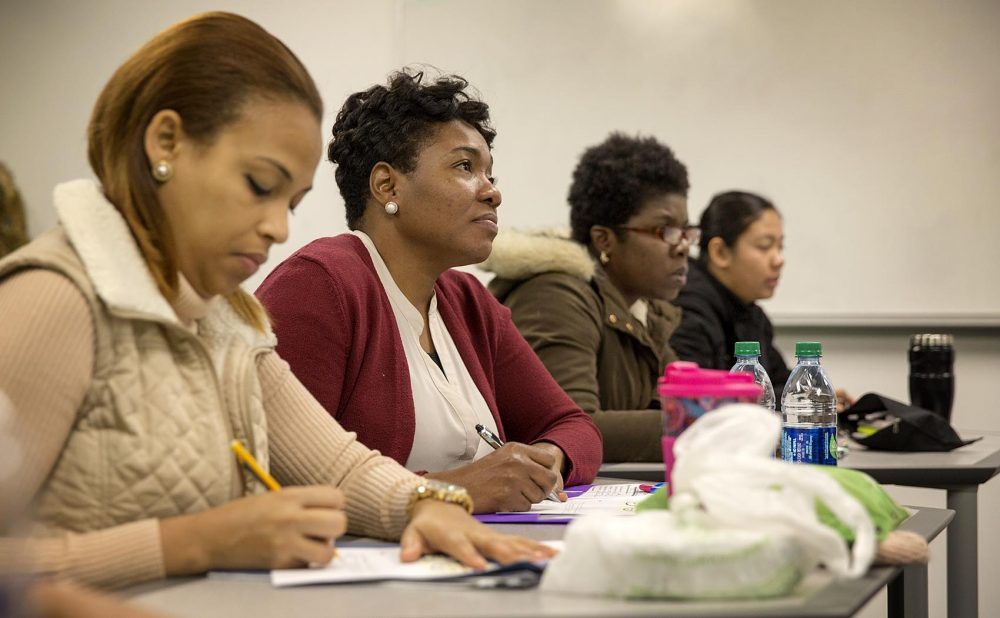 """Students attend a job-training class called """"Working with Frail Elders"""" at Boston-based Jewish Vocational Services. (Robin Lubbock/WBUR)"""