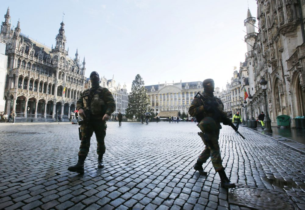 Belgian soldiers patrol the Grand Place in Brussels on Nov. 26, 2015. The city had been keeping its terror alert on the highest level in the wake of the ISIS terror attacks in Paris earlier that month. (Michael Probst/AP)