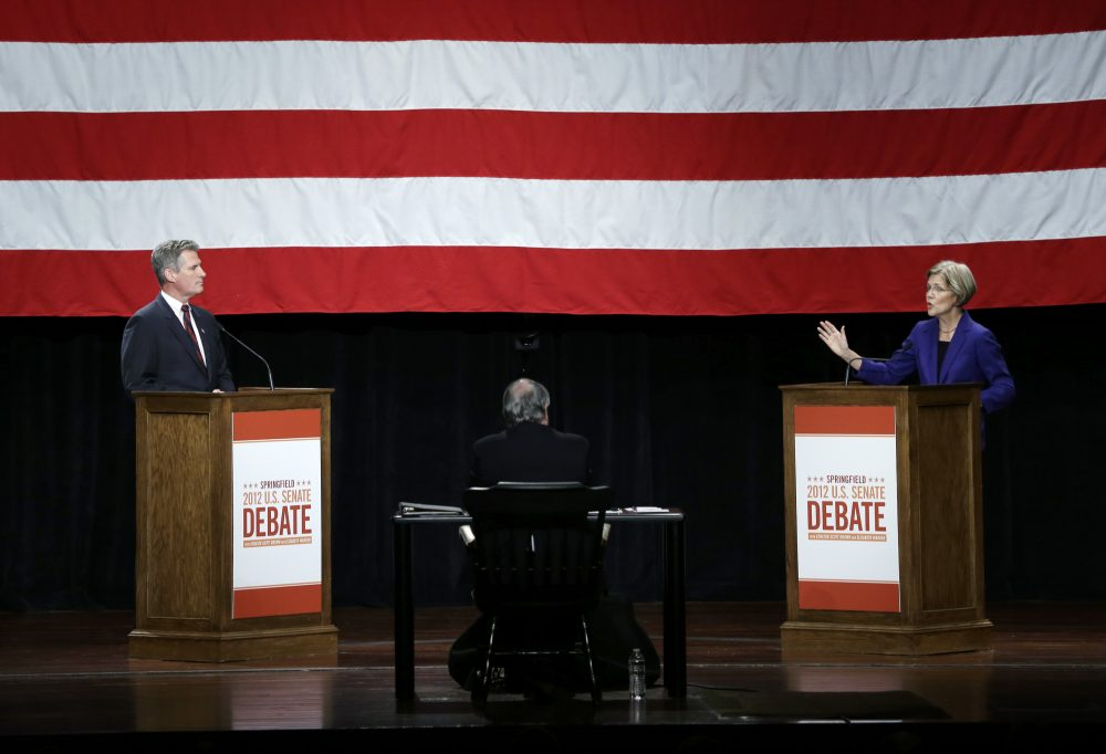 In this 2012 photo, then-Democratic challenger Elizabeth Warren debates then-Republican incumbent Sen. Scott Brown in Springfield, Mass. (Elise Amendola/AP)