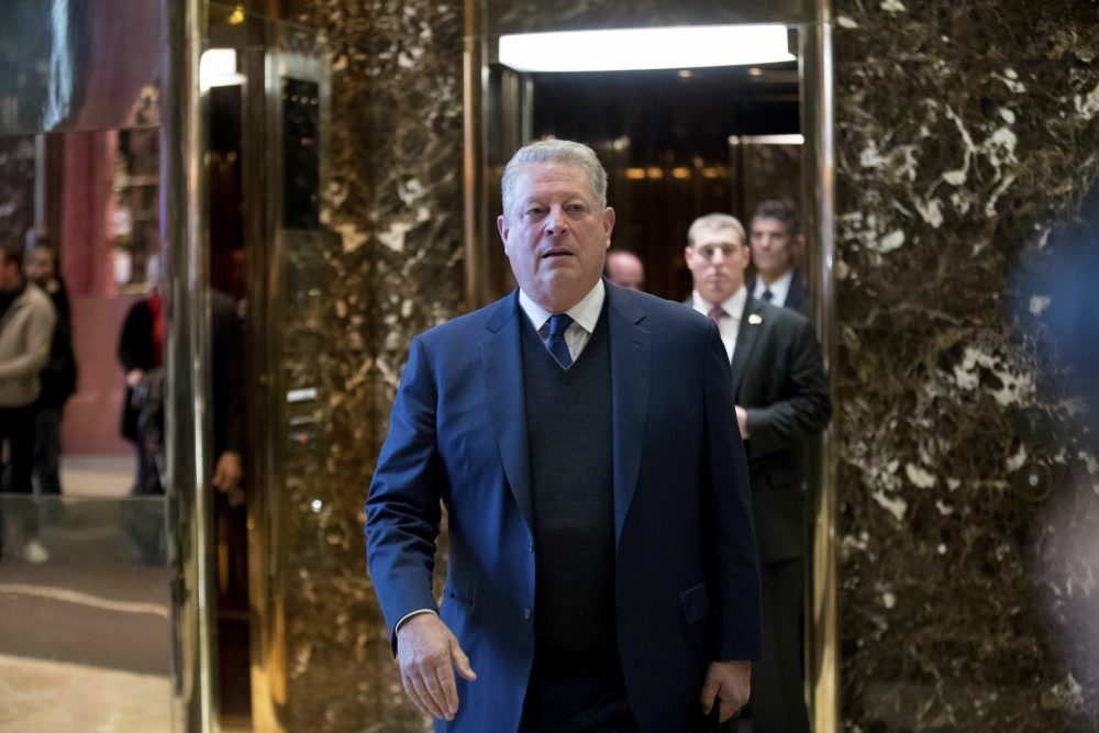 Former Vice President Al Gore walks to microphones to speak to members of the media after meeting with Ivanka Trump and President-elect Donald Trump at Trump Tower, Monday, Dec. 5, 2016, in New York. (Andrew Harnik/AP)