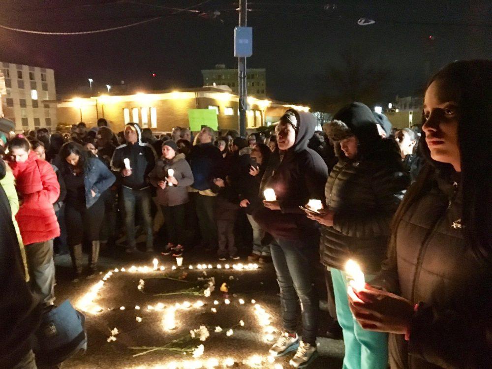 Several hundred people attended a vigil in memory of 16-year-old Lee Manuel Viloria-Paulino. (Shannon Dooling/WBUR)