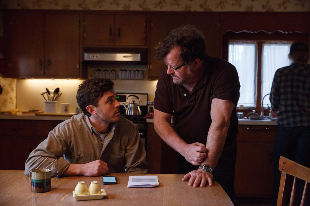 "Casey Affleck and Kenneth Lonergan on the set of ""Manchester by the Sea."" (Courtesy Claire Folger/Amazon Studios and Roadside Attractions)"