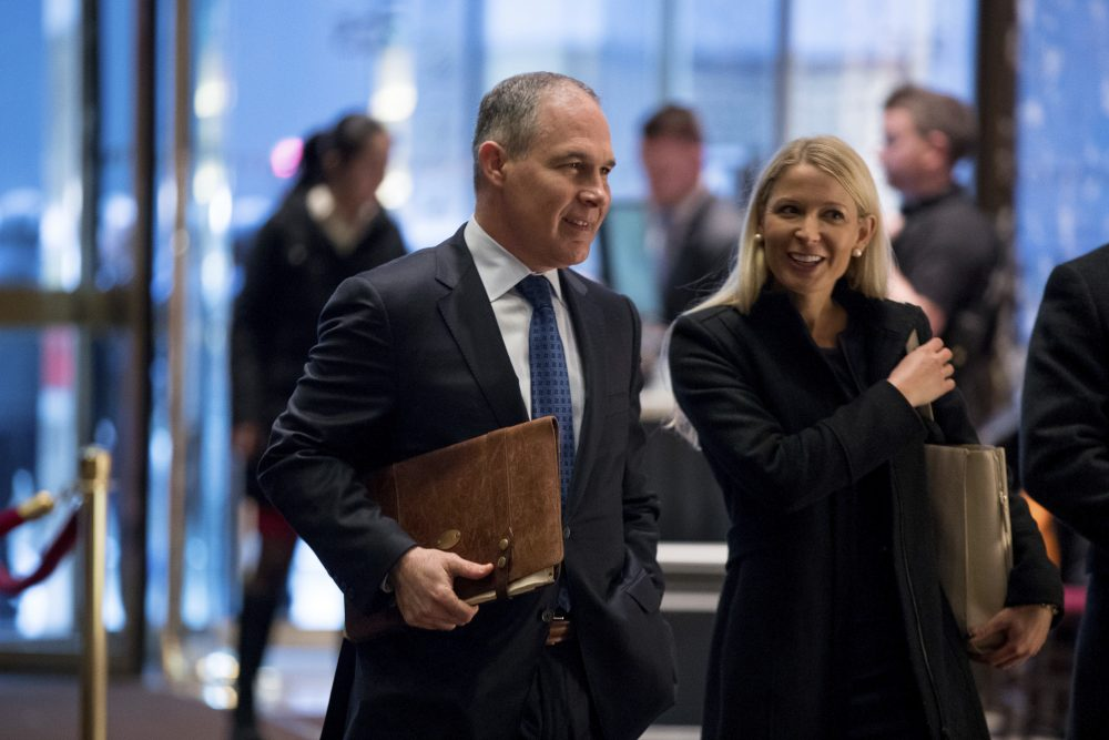 Oklahoma Attorney General Scott Pruitt arrives at Trump Tower in New York, Wednesday, Dec. 7, 2016. (Andrew Harnik/AP)