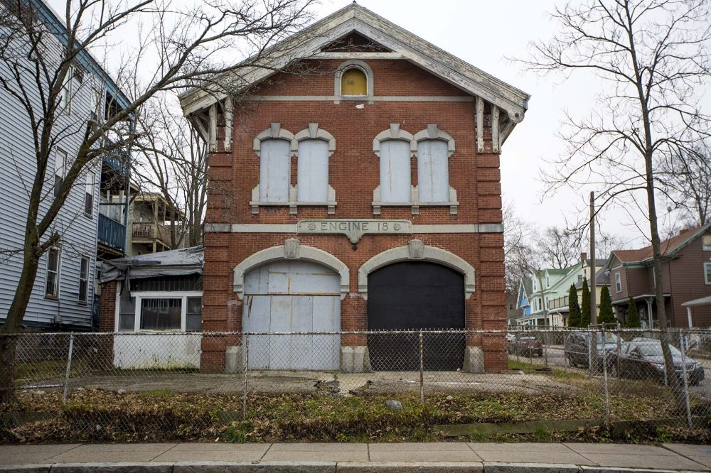 Katherine Bergeron and her partner Stephen Frederick purchased the historic firehouse on Harvard Street near Four Corners in Dorchester to eventually use it for performances and exhibit space. (Jesse Costa/WBUR)