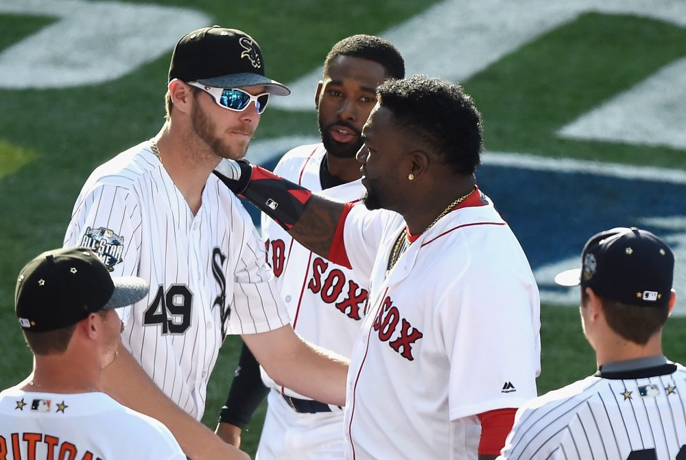 Former White Sox ace Chris Sale, left, will take the mound for the Red Sox in the 2017 season. (Denis Poroy/Getty Images)