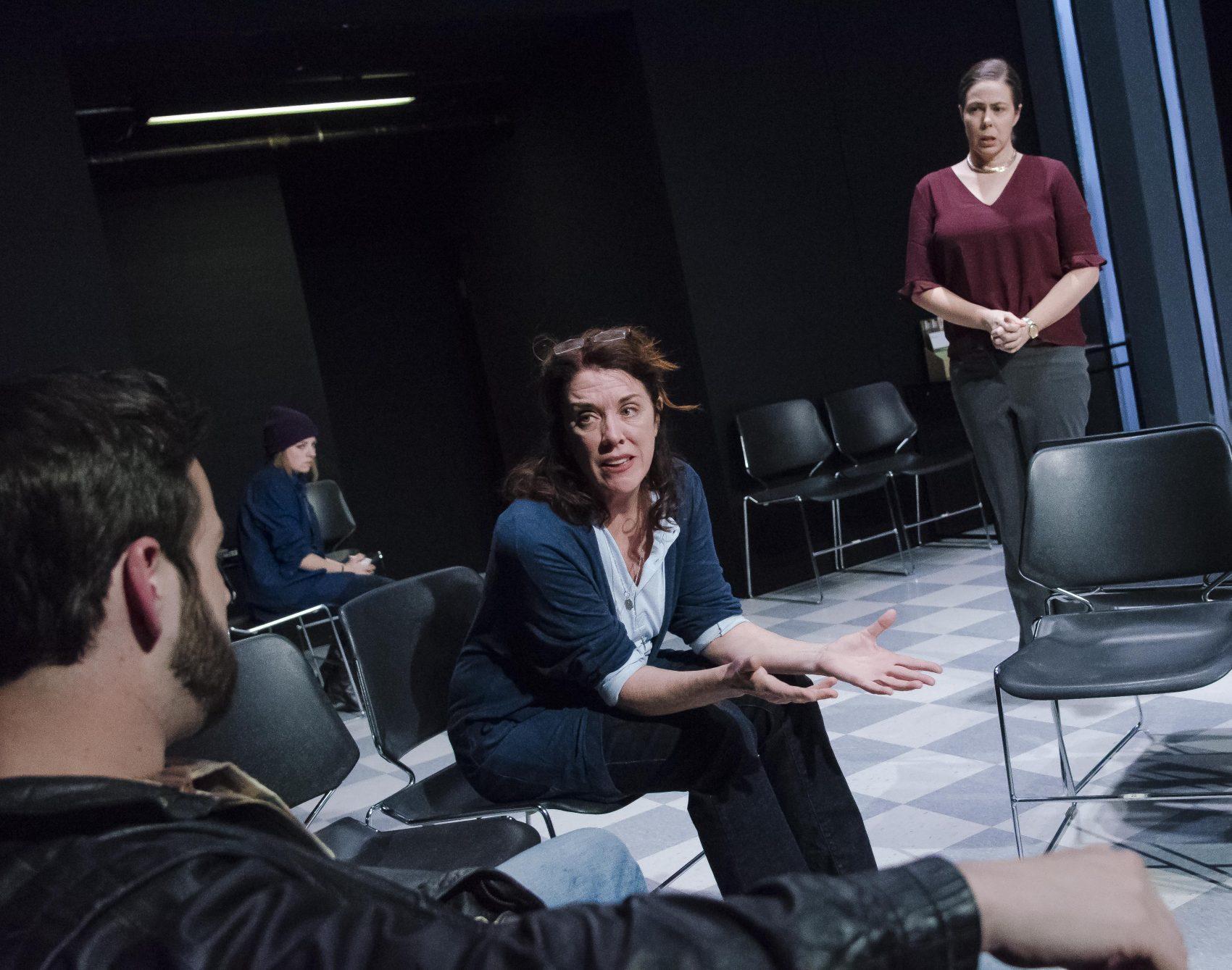 Greg Maraio as Skip, Abby Knipp as Sam, Maureen Keiller as Maureen, and Christine Power as Patty. (Courtesy Kalman Zabarsky/Boston Playwrights' Theatre)