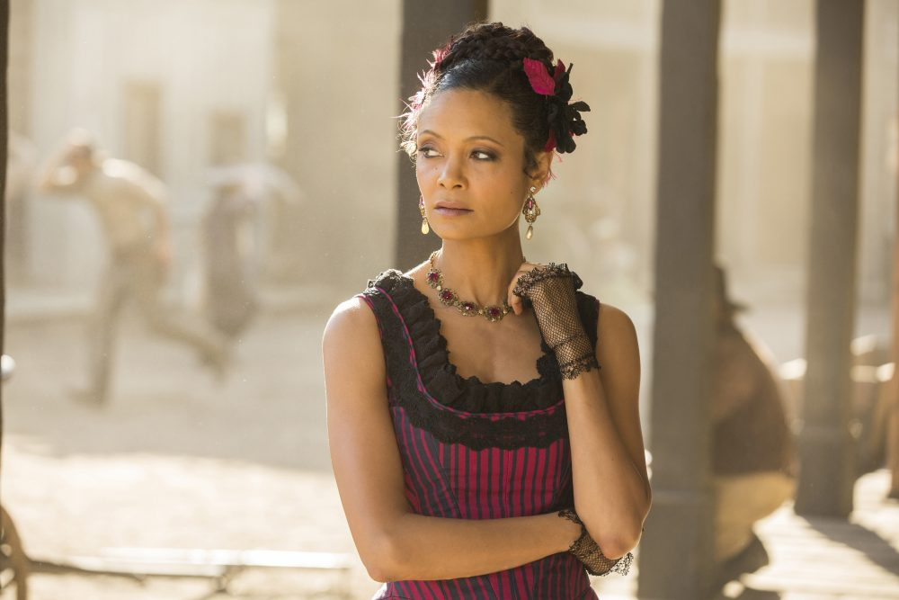 "This image released by HBO shows Thandie Newton in a scene from, ""Westworld."" Newton was nominated for a Golden Globe award for best supporting actress in a limited series or motion picture made for TV on Monday, Dec. 12, 2016. (John P. Johnson/HBO via AP)"