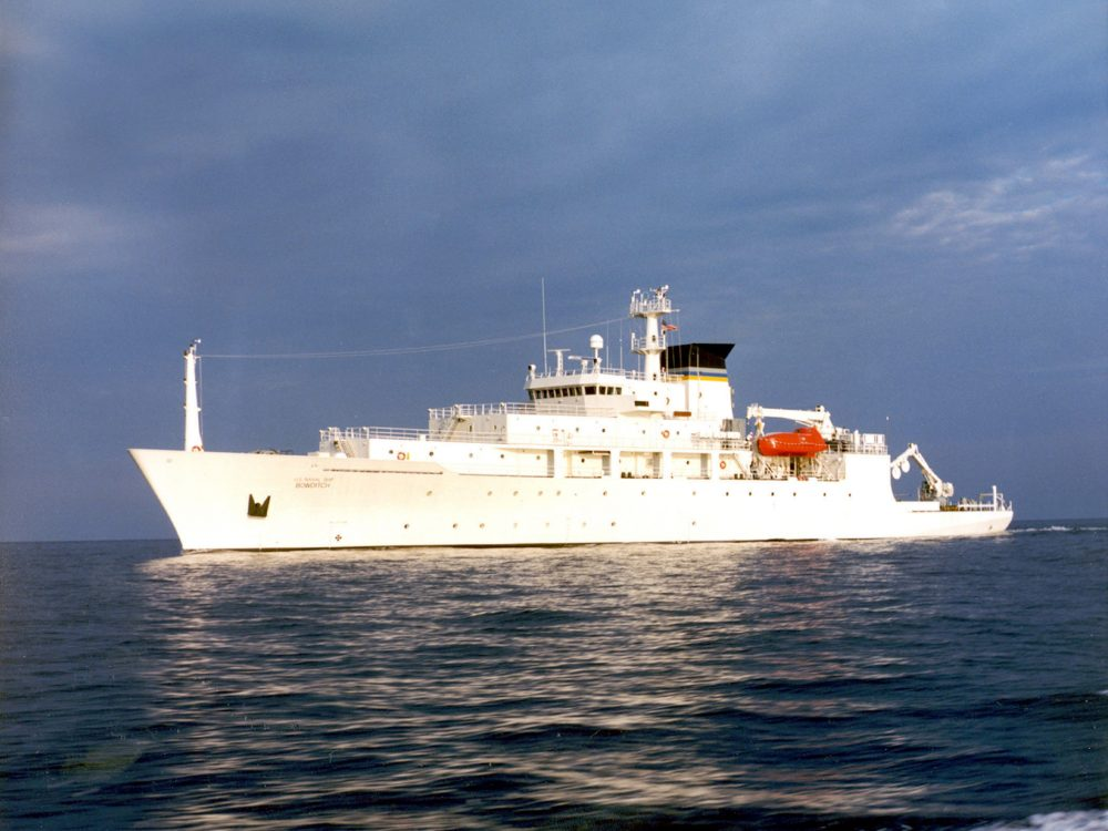 In this undated file photo released by the U.S. Navy Visual News Service, the USNS Bowditch, a T-AGS 60 Class Oceanographic Survey Ship, sails in open water. China's seizure of an American underwater drone is the latest sign that the Pacific Ocean's dominant power and its rising Asian challenger are headed for more confrontation once U.S. President-elect Donald Trump takes office, analysts said on Monday, Dec. 19, 2016. (CHINFO, Navy Visual News via AP)