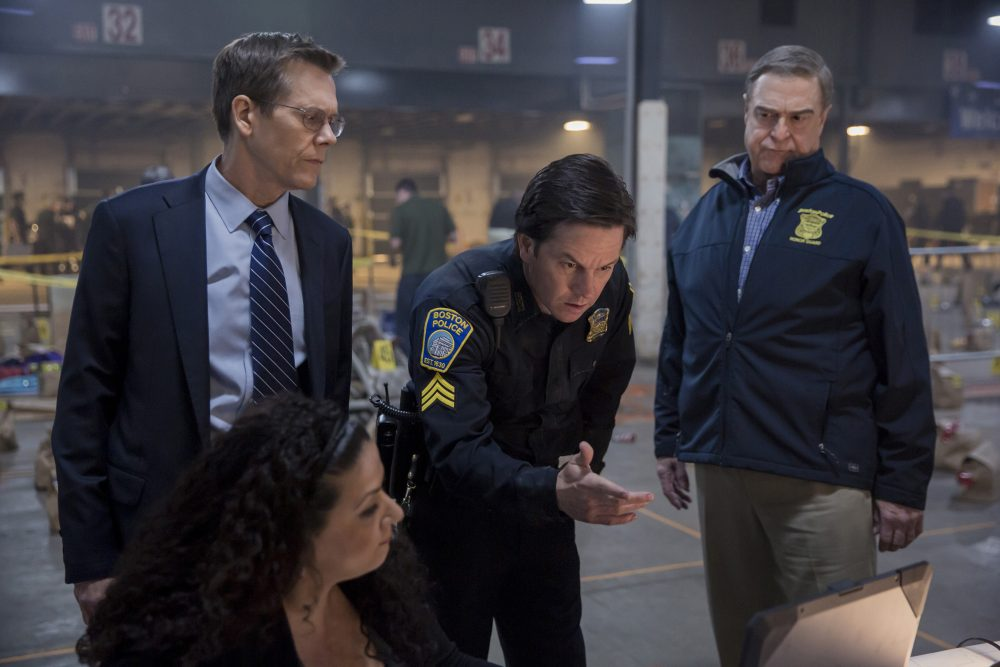 """Kevin Bacon, Mark Wahlberg and John Goodman in """"Patriots Day."""" (Courtesy CBS Films)"""