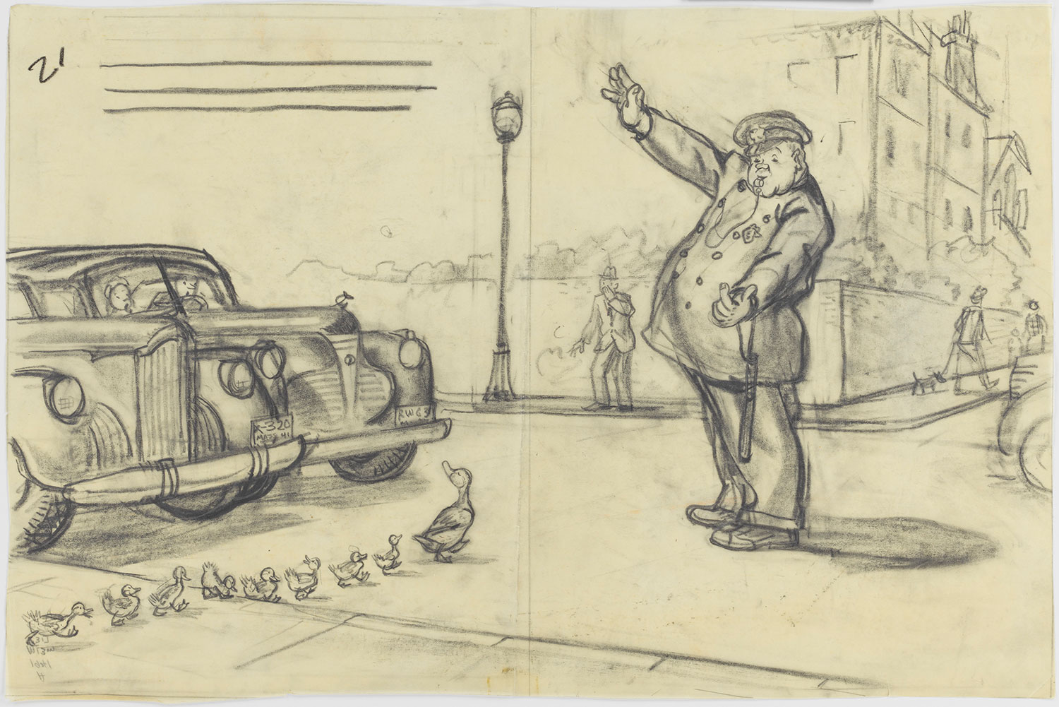 "Drawing for ""Make Way for Ducklings"": ""He planted himself in the center of the road, raised one hand to stop traffic, and then beckoned with the other, the way policemen do, for Mrs. Mallard to cross over."" By Robert McCloskey, 1941, graphite. (Courtesy, Museum of Fine Arts, Boston)"