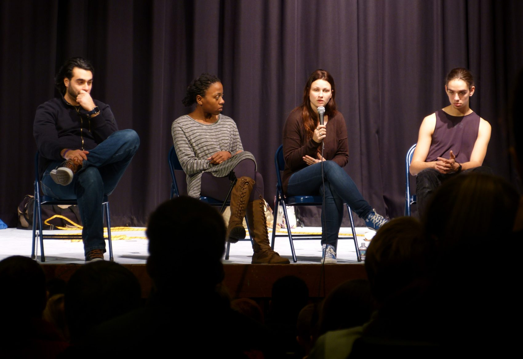 Actors Elie Saroufim, Elizabeth Addison, Abby E. and Jon R. (some of the players did not want their last names used in this story) on stage at Triton Regional High School. (Courtesy Lynn Bratley/The Improbable Players)