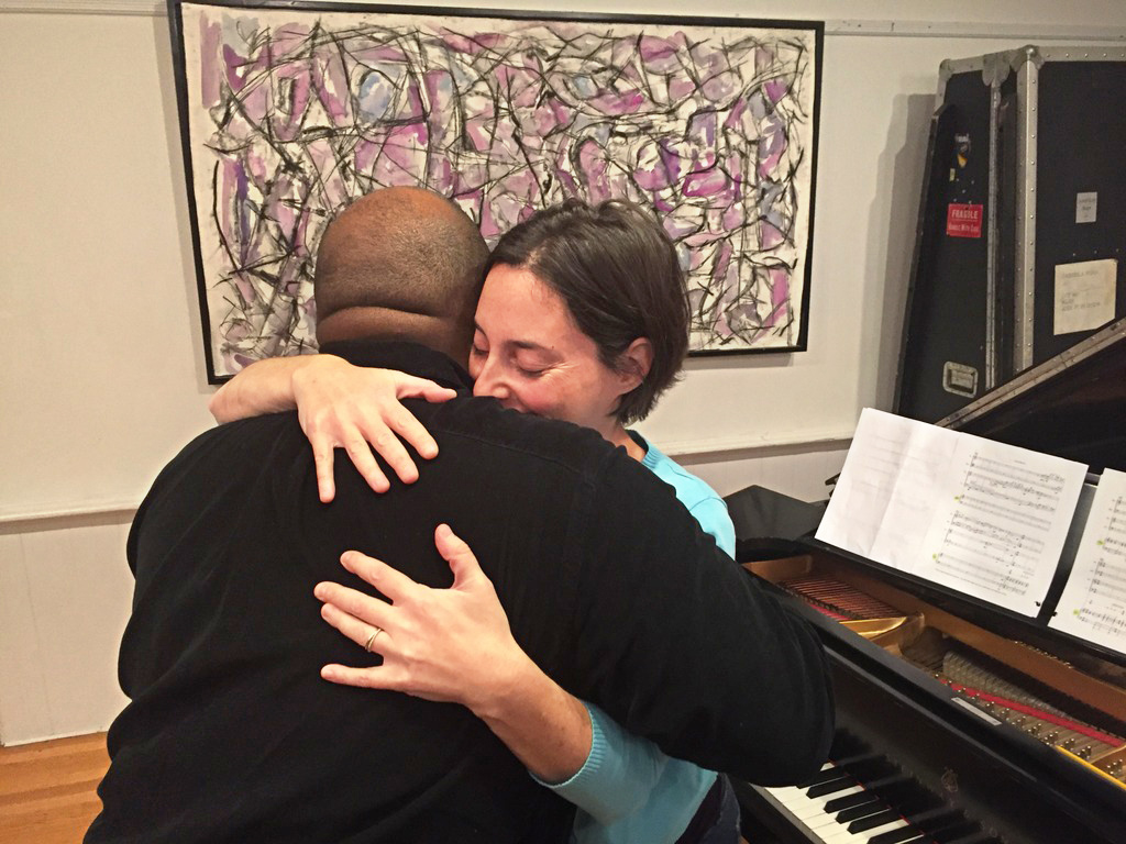 "Holland and pianist Sarah Bob after their first reading of ""Synchrony."" (Andrea Shea/WBUR)"