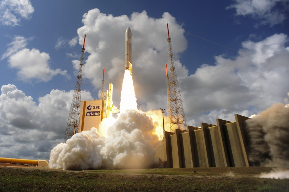 In this handout provided by the European Space Agency (ESA), Ariane Flight VA233 carrying four European Galileo navigation satellites launches Nov. 15, 2016 in Kourou, French Guiana. (Stephane Corvaja/ESA via Getty Images)