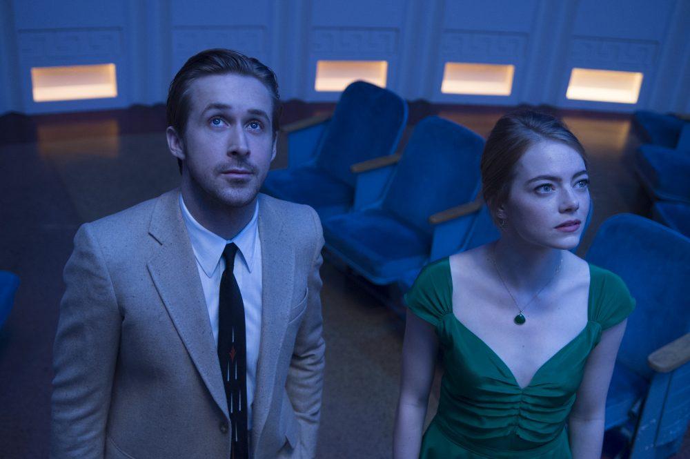 "Emma Stone and Ryan Gosling on the set of ""La La Land."" (Dale Robinette)"