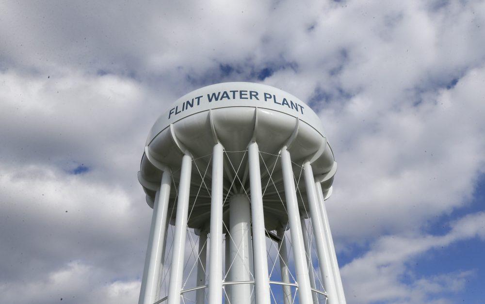 The Flint Water Plant water tower in Flint, Mich., in March 2016. (Carlos Osorio/AP)