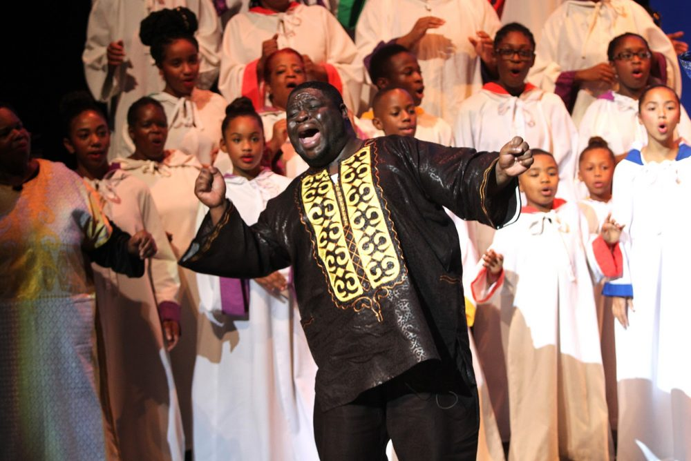 Performers practiced at the Black Nativity dress rehearsal on November 30th, 2016 at the Paramount Center in Boston. (Hadley Green for WBUR)