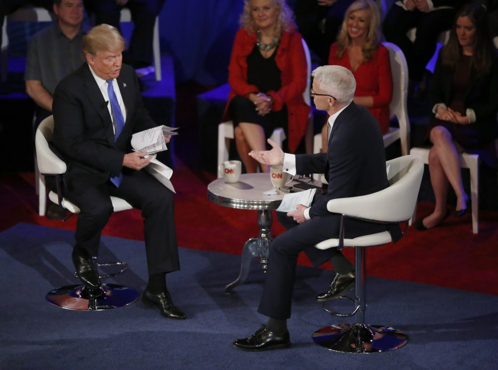Donald Trump participates in a CNN town hall with Anderson Cooper on March 29 in Milwaukee. (Charles Rex Arbogast/AP)
