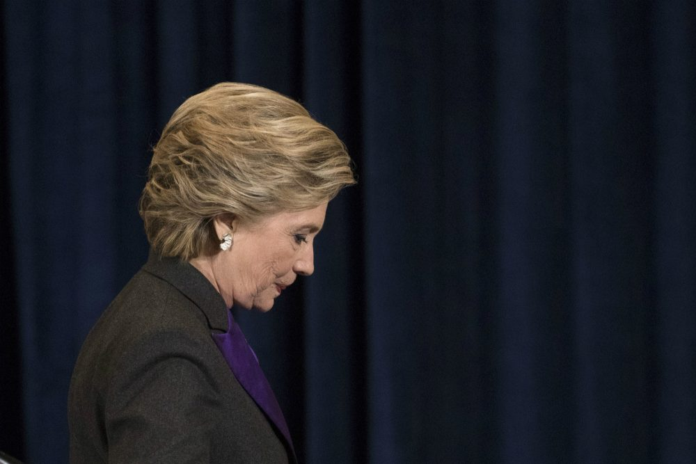 Democratic presidential candidate Hillary Clinton walks off the stage after speaking in New York, Wednesday, Nov. 9, 2016. (Matt Rourke/AP)