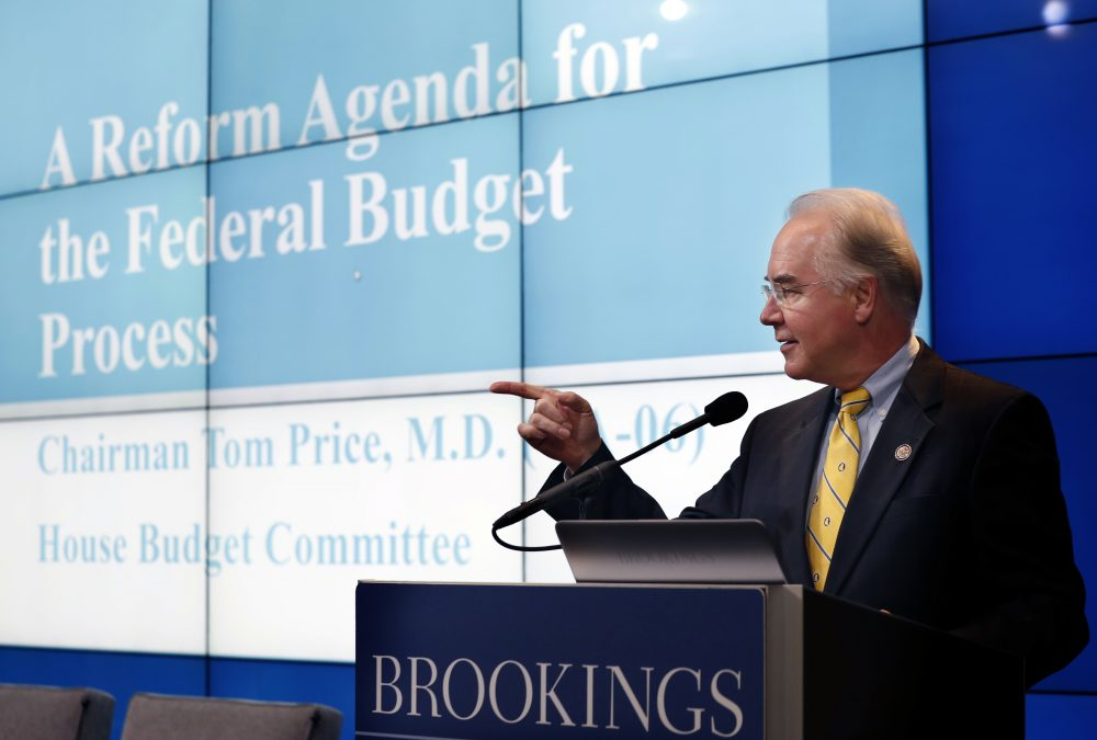 House Budget Committee Chairman Tom Price, R-Ga., President-elect Donald Trump's choice for Health and Human Services Secretary, gestures as he delivers a keynote address Wednesday in Washington. (Alex Brandon/AP)