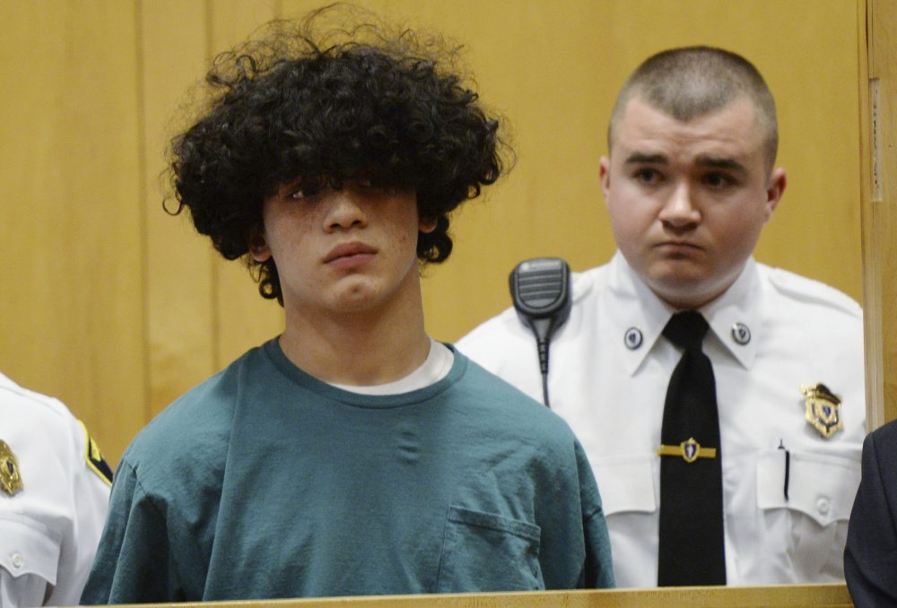 Mathew Borges, 15, attends his arraignment in Lawrence District Court. Borges was held without bail after pleading not guilty on a first-degree murder charge. (Paul Bilodeau/The Eagle-Tribune via AP, Pool)