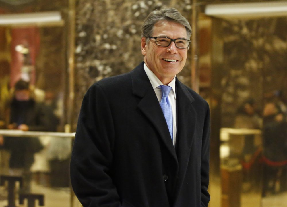 Former Texas Gov. Rick Perry is seen leaving Trump Tower in New York on Monday. Perry is President-elect Donald Trump's choice to become energy secretary, two people with knowledge of the decision say. (Kathy Willens/AP)