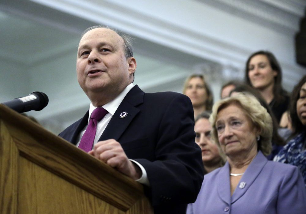 Massachusetts Senate President Stan Rosenberg speaks during a bill signing ceremony at the State House, Monday, Aug. 1, 2016, in Boston. Rosenberg said he would support an investigation into allegations his husband sexually harassed other men. (Elise Amendola/AP)