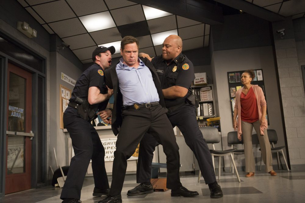 "Luke Smith, Michael Hayden, Andre Ware and Tamara Tunie in ""American Son"" at Barrington Stage Company in Pittsfield. (Courtesy of Scott Barrow/Barrington Stage Company)"