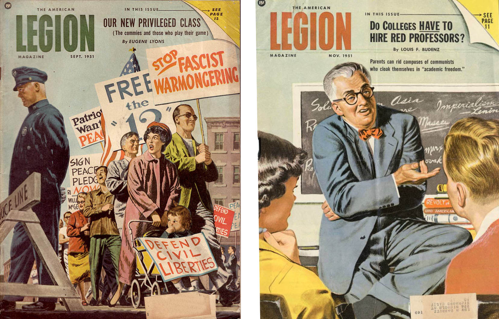 Two 1951 covers from the American Legion magazine depicting activism and Communism on campus. (American Legion Digital Archive)