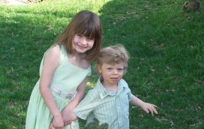 Caroline Metheny, left, with her brother, Nate, on Easter in 2010. (Courtesy of Diane Metheny)