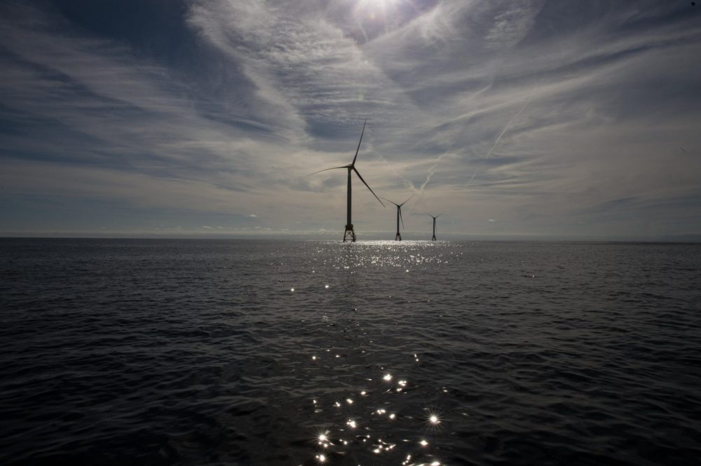 The nation's first offshore wind farm began spinning earlier this month off the coast of Rhode Island. (Courtesy Ryan Caron King/New England News Collaborative)