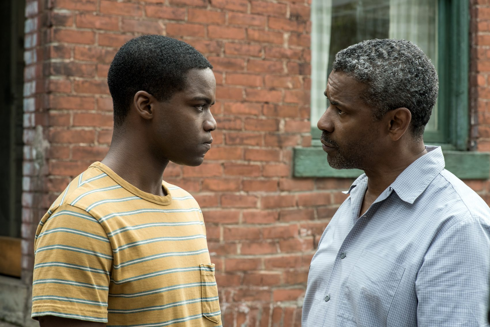 "Denzel Washington plays Troy Maxson and Jovan Adepo plays Cory in ""Fences."" (Courtesy Paramount Pictures)"